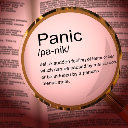 Panic concept icon means being worried due to fear or terror. Anxiety and freaking out from a problem - 3d illustration 스톡 콘텐츠