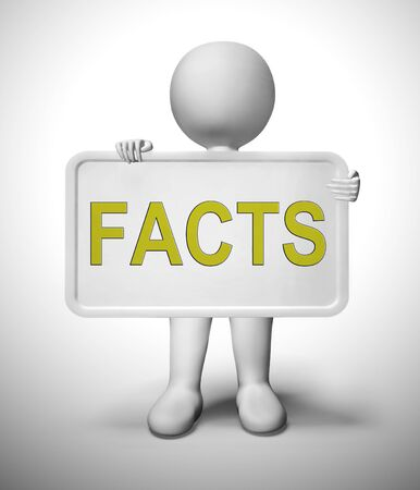 Facts concept icon meaning correct data and detailed description. Clarification of specifics detailed - 3d illustration 스톡 콘텐츠