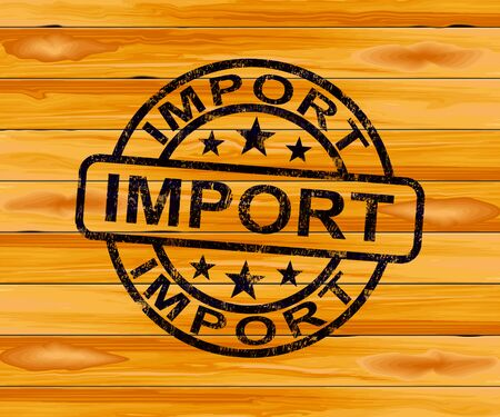 Import concept icon means importing goods for business. International Commerce and global shipping - 3d illustration