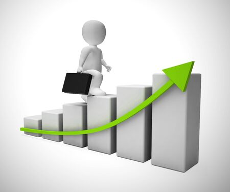 Graph going upwards means success and increased profits. Business growing and trends higher for gain - 3d illustration Foto de archivo - 128085682