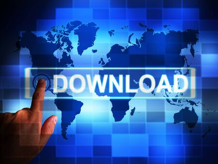 Download icon concept  depicts receiving information or data on the internet. System transfer to home PC - 3d illustration Foto de archivo - 128085689