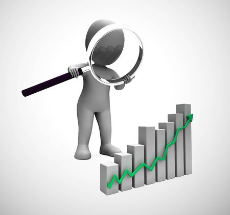 Graph going upwards means success and increased profits. Business growing and trends higher for gain - 3d illustration Foto de archivo - 128085709