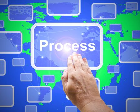 Process concept icon means business model or methodology. Progression of a scheme and operation - 3d illustration