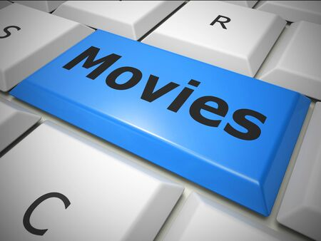 Movies online computer key means finding films to watch and download. Videos to see on the web - 3d illustration Foto de archivo - 128085716