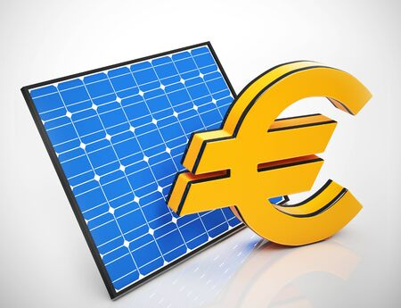Euro savings from electric energy from the sun. Alternative green and eco-friendly generation - 3d illustration Foto de archivo - 128085724