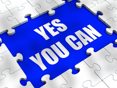 Yes you can concept icon means affirmative action and inspiration to succeed. Become a winner through motivation and encouragement - 3d illustration Foto de archivo - 128085727