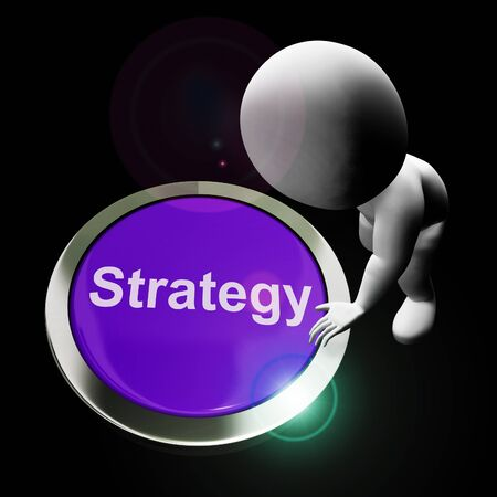 Business strategy concept icon means an overall plan of operation. Tactics and approach for prosperity and success - 3d illustration Foto de archivo - 128085735