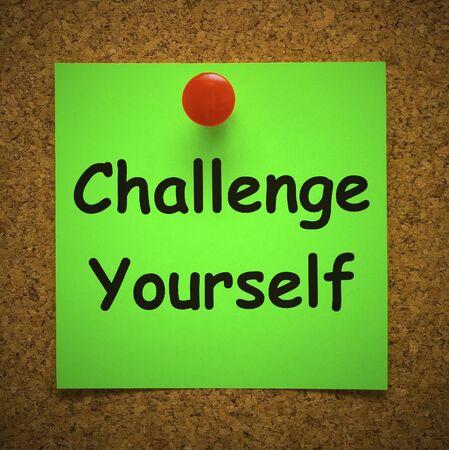 Fordern Sie sich selbst Konzeptsymbol heraus, das Entschlossenheit erfordert. Mut und Tapferkeit für ein erfolgreiches Ergebnis - 3D-Darstellung