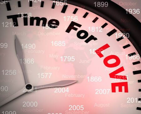 Time for love concept icon means I adore you and I'm Yours. Fondness for a sweetheart - 3d illustration Foto de archivo - 128085754