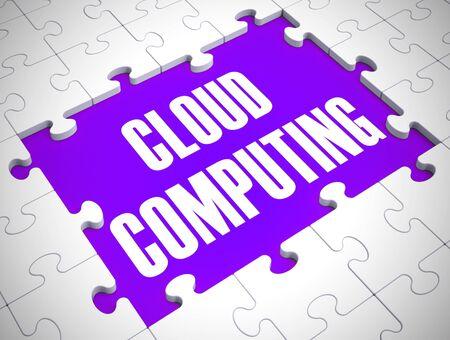 Cloud computing concept icon shows online data hosting. Computer network and storage connectivity - 3d illustration Foto de archivo - 128085758