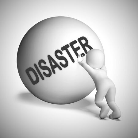 Disaster concept icon means disappointment mishaps.  Bad luck causing setbacks and ruin - 3d illustration Stockfoto