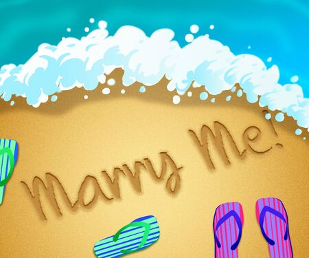 Marry me message means get hitched and be my wife. A proposal for married life - 3d illustration