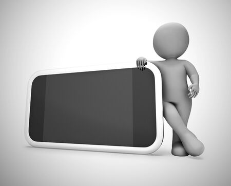 Smartphone or cellular mobile device for apps and internet Mockup. Copyspace screen for text - 3d illustration