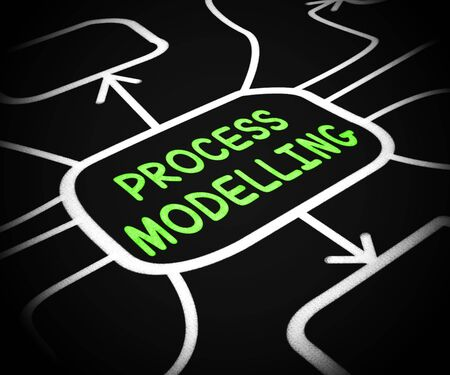 Process modelling means setting up a system procedure. Operational illustration of automation software - 3d illustration