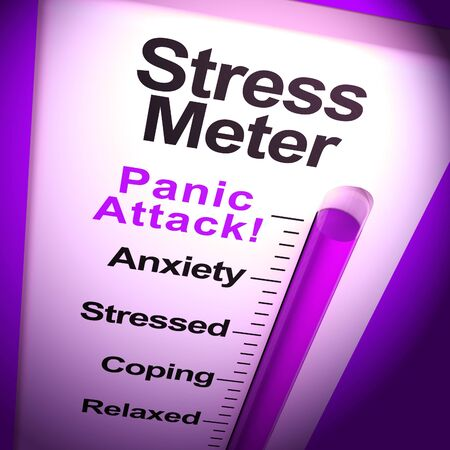 Stress meter panic attack shows terror and fear. High emotions with anxiousness and hyperventilation - 3d illustration