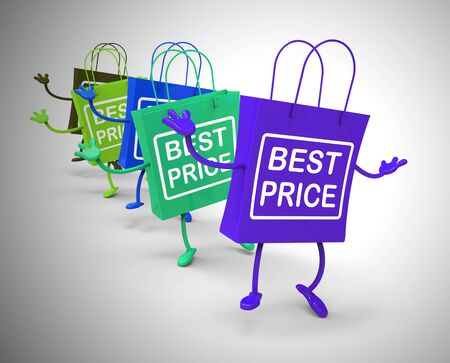 Best price on products shows inexpensive shopping at clearance prices. Buy promotions in store or online - 3d illustration Stockfoto