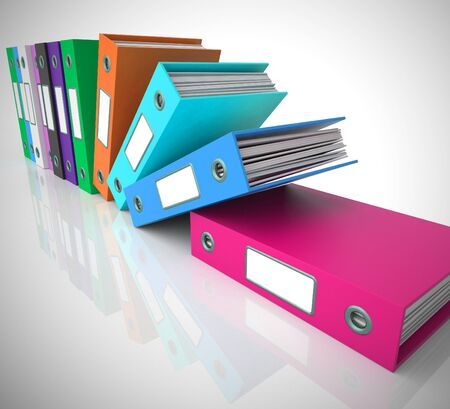 Files of folders concept icon shows data records for filing and record keeping. Information to organise and archive - 3d illustration Stok Fotoğraf