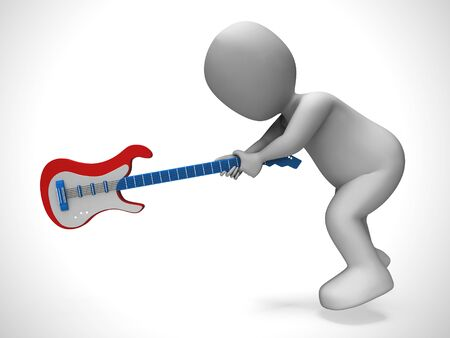Electric guitar used by a lead guitarist in rock and roll or instrumental music. A group playing songs and pop - 3d illustration