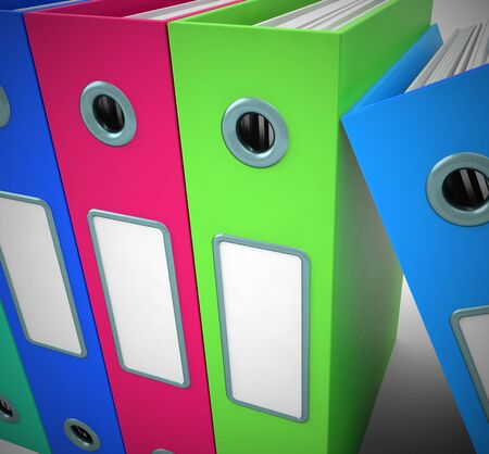 Files of folders concept icon shows data records for filing and record keeping. Information to organise and archive - 3d illustration