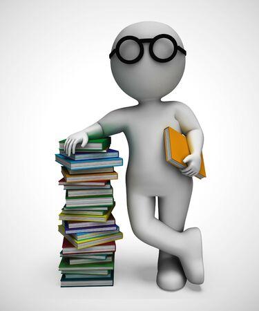Stapel boeken om te lezen om kennis en geletterdheid op te doen. Drukwerk voor kinderen of volwassenen die willen leren of escapisme - 3d illustratie