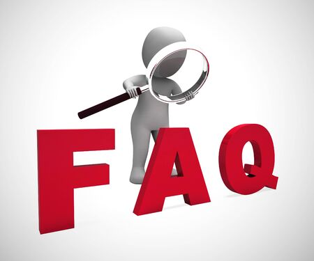 Faq symbol icon means answering questions to help support users or staff. A help desk or hotline for answering queries - 3d illustration Фото со стока