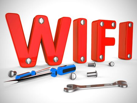 Wi-Fi concept icon means wireless internet connection access. Connected to the web using Airwaves - 3d illustration Stok Fotoğraf