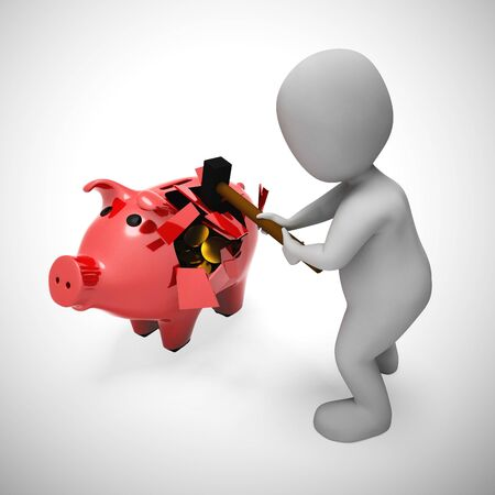 Breaking a piggy bank to access savings or cash.  Depicts financial crisis poverty and debt bankruptcy - 3d illustration 写真素材