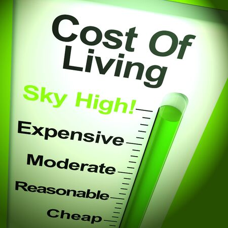 High cost of living thermometer shows increase in living expenses.  Outgoings and spending expensive - 3d illustration