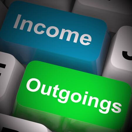 Income and outgoings keys means money coming in and out. Financial profit or budgets and expenses - 3d illustration