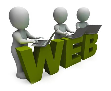Web concept icon means connected to the World Wide Web. Broadband connectivity and access to information - 3d illustration