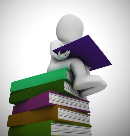 Reading a book character represents education, literacy and gaining knowledge. A bookworm after development and wisdom - 3d illustration Banco de Imagens
