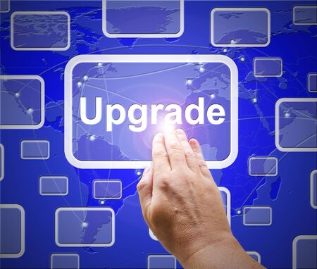 Upgrade concept icon means the latest and most modern version. Software updated with improved enhancements - 3d illustration Foto de archivo