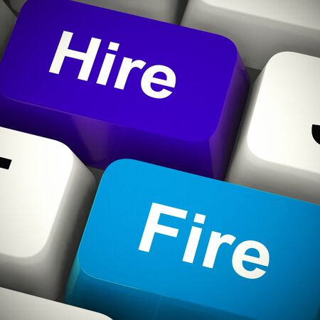 Hire fire button means enlist and contract for work or make redundant. Employee unemployment or employment - 3d illustration