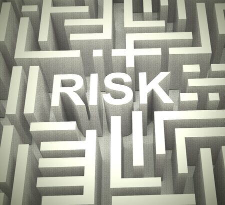 Risk management icon concept means mitigating against danger and threats. Dealing with perceived threats or vulnerable pitfalls - 3d illustration