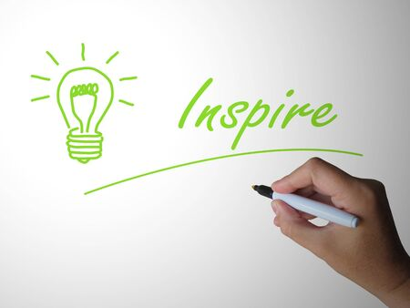 Inspire concept icon means to motivate someone by stimulating excitement. To stir up and impassion them - 3d illustration Stock Illustration - 130578092