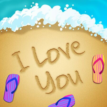 I love you message means affection sweetness and fondness. A Valentine greeting and romantic note - 3d illustration