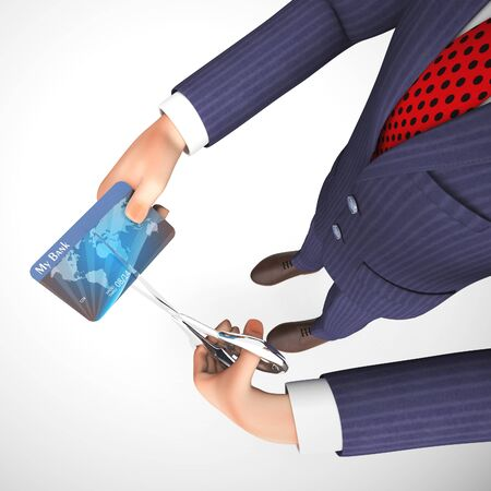 Cutting a credit card to invalidate spending and stop debt.  Problems with fraud and overspending - 3d illustration 写真素材