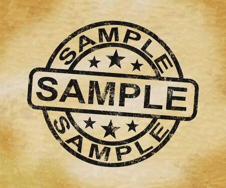 Sample stamp means specimen or random pick of product. A representative or cross section - 3d illustration Фото со стока