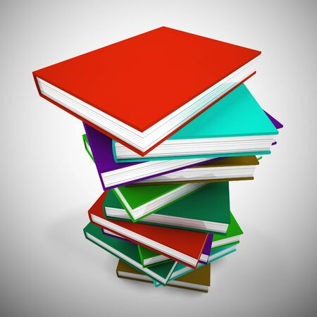 Pile of books for reading to gain knowledge and literacy. Printed matter for children or adults wanting learning or escapism - 3d illustration Stock Photo