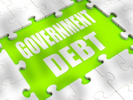 Government debt concept means public liabilities and bad finance. A liability or obligation causing indebtedness - 3d illustration 写真素材