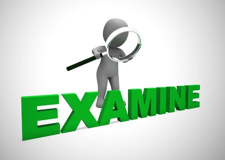 Examine or study concept icon meaning evaluating or taking a look at. Examination and investigation - 3d illustration Stock Photo