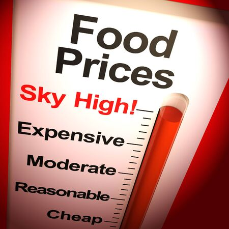 Food prices sky-high means expensive foodstuff and groceries. Food products exorbitant and overpriced - 3d illustration