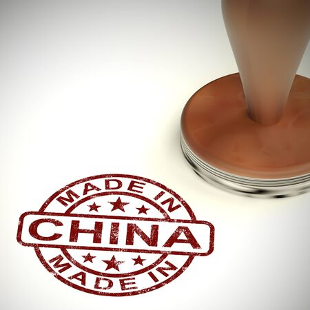 Made in China stamp shows Chinese products produced or fabricated in the PRC. Quality patriotic exports for international trade - 3d illustration Reklamní fotografie