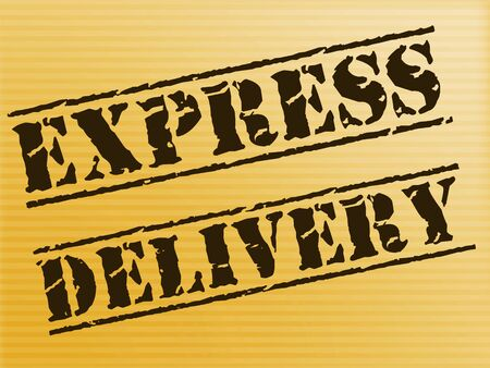 Express delivery stamp meaning quick service and expedited logistics. Courier services for fast distribution - 3d illustration
