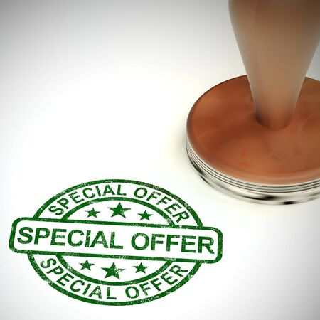 Special offer best deals stamp means a good buy or reduction. Low priced bargain at a cash discount - 3d illustration