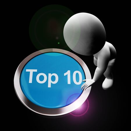 Top 10 concept icon means list of winners or finalists. Winning results of the billboard - 3d illustration Stock Photo