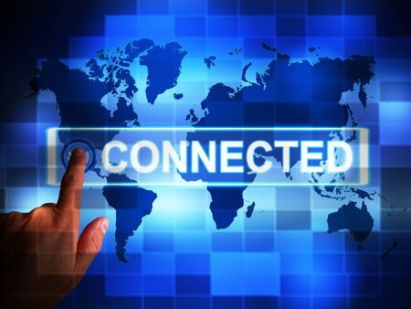 Connected to the internet concept icon means online access. Data or information from worldwide websites - 3d illustration