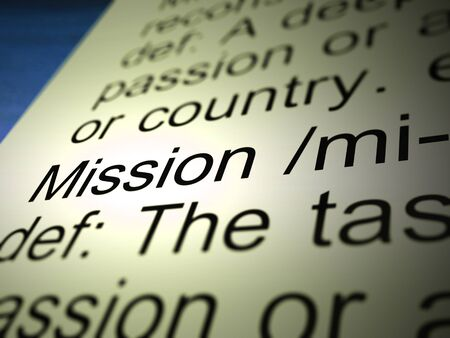 Mission definition means or project operation or Quest. The solution to a business problem - 3d illustration Stock Photo