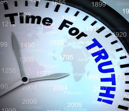 Time for truth means honest and ethical decisions. Integrity and genuineness of actions - 3d illustration