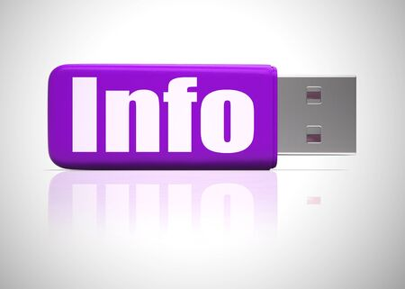 Info concept icon means information or data and Intelligence. Expertise or knowhow on a database - 3d illustration 写真素材
